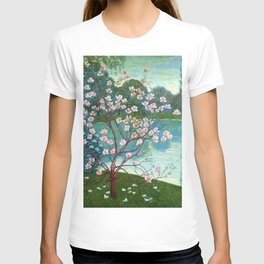 Springtime Pink Magnolias by the Kettle Pond landscape by Wilhelm List T-shirt