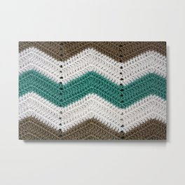 Diagonal Crochet Throw Metal Print