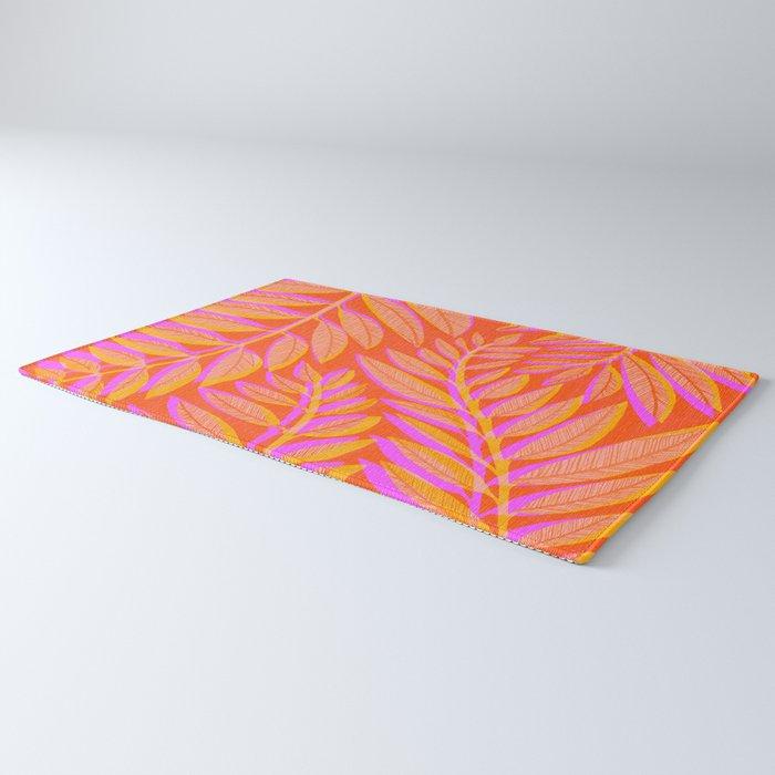 Hot Tropics - Orange Pink Tropical Vines Rug