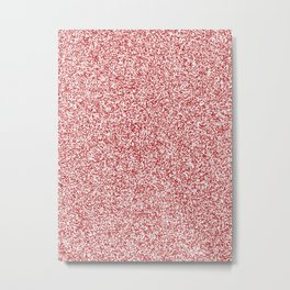 Spacey Melange - White and Firebrick Red Metal Print