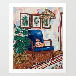 Ginger Cat on Blue Mid Century Chair Painting Kunstdrucke