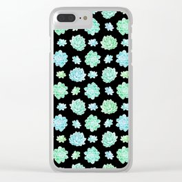 Modern black teal turquoise trendy cactus floral pattern Clear iPhone Case