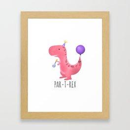Par-T-Rex - Pink Dinosaur Birthday Framed Art Print