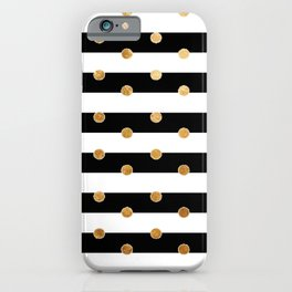 Black and white stripe gold dot iPhone Case