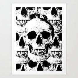 skulls - black & white Art Print