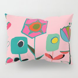 Mid century flowers pink Pillow Sham
