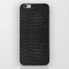 Black Crocodile Leather Print iPhone Skin