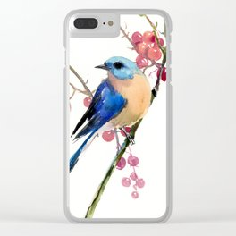 Bluebird and Berries Clear iPhone Case