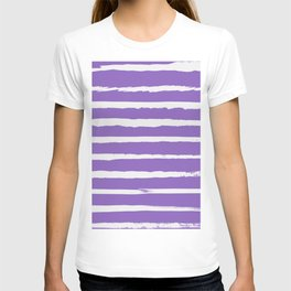 Irregular Hand Painted Stripes Purple T-shirt