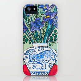 Iris Bouquet in Blue and White Asian Tiger Jar on Green and Coral iPhone Case