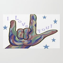 ASL I Love You Denim Colors Rug
