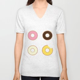 Four Doughnuts (Bitten version) Unisex V-Neck