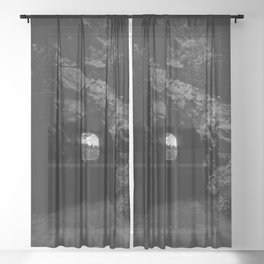 Mammoth Cave - Black and White Sheer Curtain