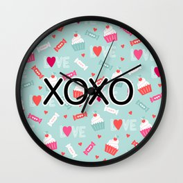 Valentine Cupcakes, Candy, and Whipped Cream Pattern Wall Clock