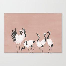 Crane Dance - Mauve Pink Canvas Print