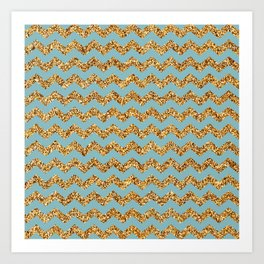 Light Blue3 Gold Glitter Chevron Pattern Art Print