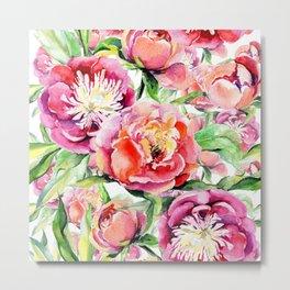 Blush pink orange green hand painted watercolor floral Metal Print