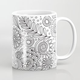 White Doodle Pattern Coffee Mug