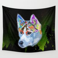 husky Wall Tapestries featuring lovely husky XI by donphil