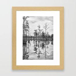 Adams Mill Pond Panorama 01 B&W Framed Art Print