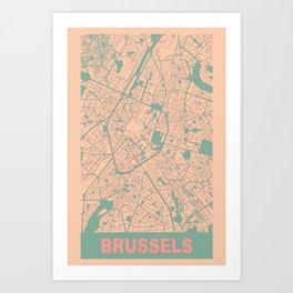 Brussels, Belgium, city map, Apricot Art Print