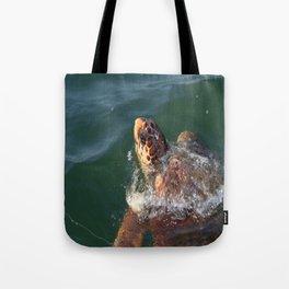 Loggerhead Turtle (Caretta Caretta) Breaking The Sea Surface Tote Bag