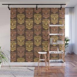 Tiki Pattern Brown Yellow Wall Mural