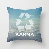 karma Throw Pillows featuring karma by katieswanson.design