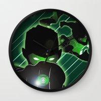 green lantern Wall Clocks featuring Green Lantern by Adam Surin Max