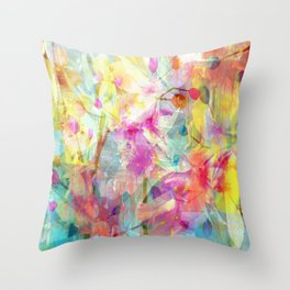 Colorful Painterly Spring Floral Abstract Throw Pillow