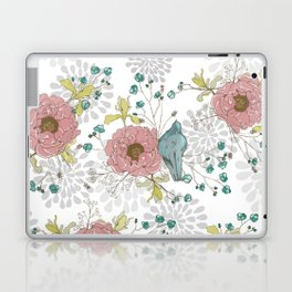 Blue Bird and Peonies Laptop & iPad Skin