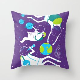 A Day Out In Space - Purple Throw Pillow
