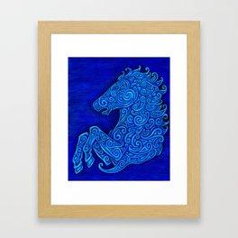 Blue Celtic Horse Abstract Spirals Framed Art Print