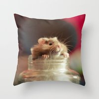 hamster Throw Pillows featuring Hungry Hamster by EmilyBest
