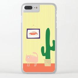 Cat, Car, Cactus Clear iPhone Case