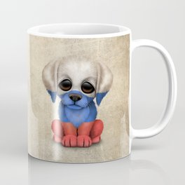 Cute Puppy Dog with flag of Russia Coffee Mug