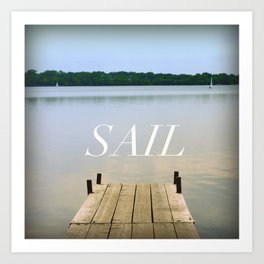 SAIL - Natural Landscape Portrait of Lake Calhoun  Art Print