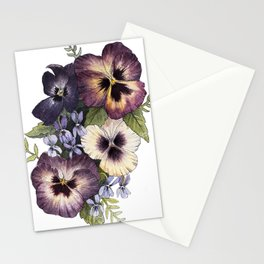 Watercolor Pansy Bouquet Stationery Cards