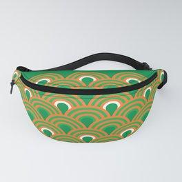 retro sixties inspired fan pattern in green and orange Fanny Pack