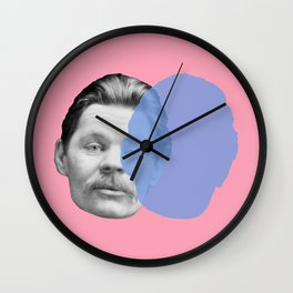 Maxim Gorky - pink blue portrait Wall Clock