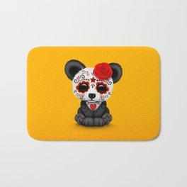Red Day of the Dead Sugar Skull Panda Bath Mat