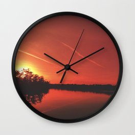 Red Sunset Wall Clock