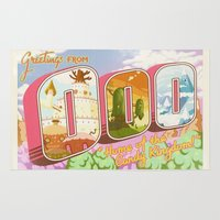 gumball Area & Throw Rugs featuring Greetings from Ooo / Adventure Postcard by jerseytigermoth
