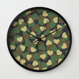 Heart Camo WOODLAND Wall Clock