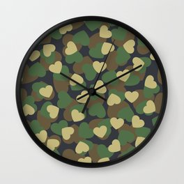 Heart Camo WOODLAND Wall Clock