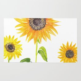 Sunflowers Watercolor Painting Rug