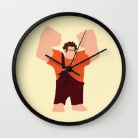wreck it ralph Wall Clocks featuring Wreck-It Ralph by George Hatzis