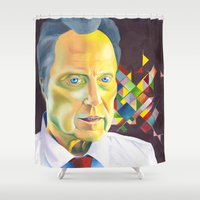 christopher walken Shower Curtains featuring Technicolor Walken by Jolene Rose Russell