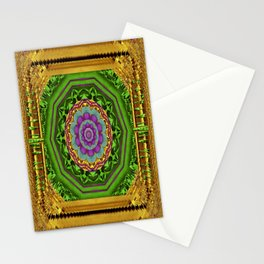 Lotus Pond In Gold Pattern Stationery Cards