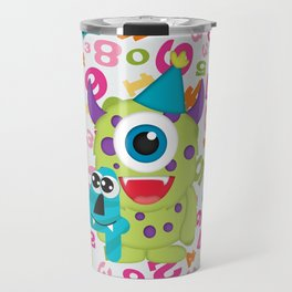 Birthday Monsters 4th Birthday Travel Mug